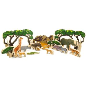 Happy architect animals in the wild – educational wooden toys