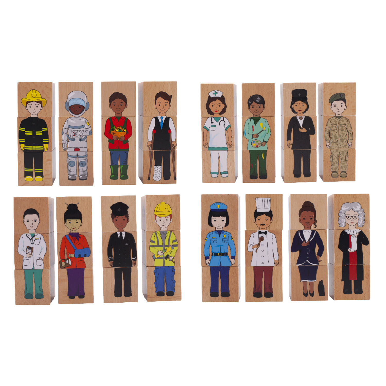 career community blocks - educational wooden toys